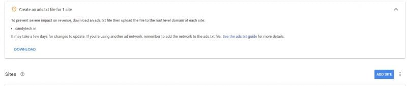 Ads.txt warning message
