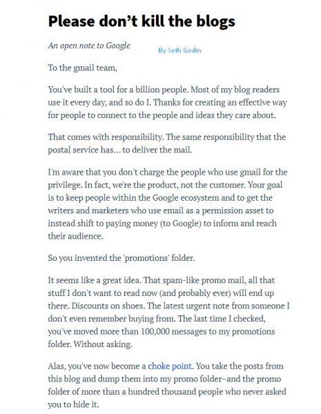Seth Godin on Gmail Promotion tabs